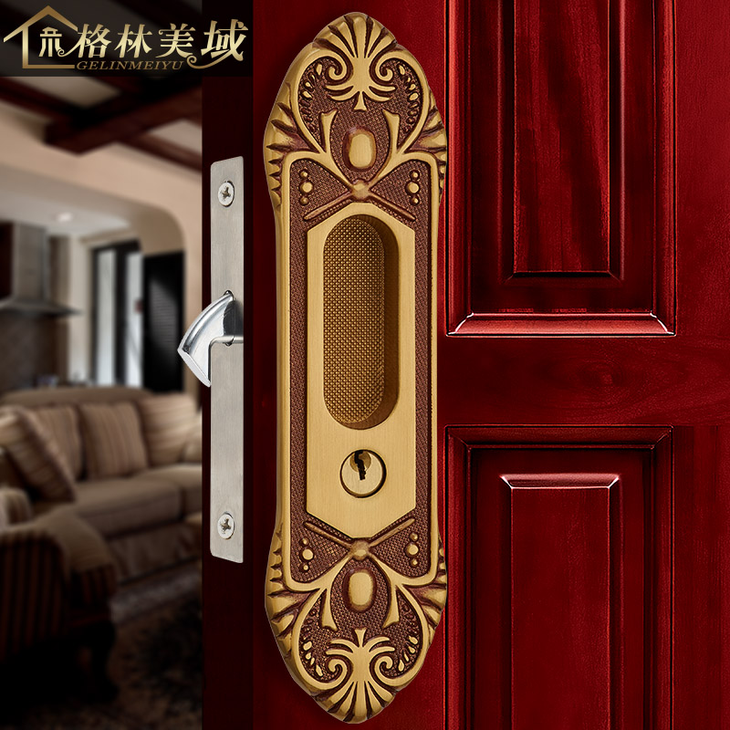 Copper Locked Copper Sliding Door Lock Copper Kitchen Bathroom Sliding Door Lock American Sliding Door Handle 01 handle auxiliary locked copper door door handle lock double door door lock door lock