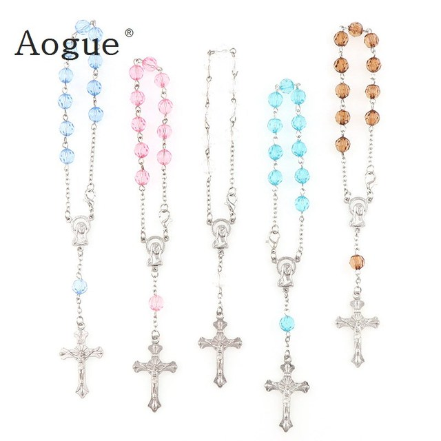 7mm Faceted Acrylic  Beads Rosary Bracelet With Silver Lobster  Made  Metal Maria Center & Jesus Crucifix Cross Pendants