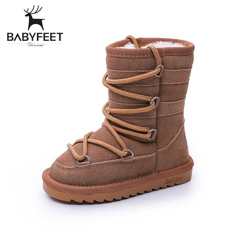 babyfeet winter children snow boots warm high top Side zipper solid leather plus velvet toddler kids shoes winterstiefel kinder kelme 2016 new children sport running shoes football boots synthetic leather broken nail kids skid wearable shoes breathable 49