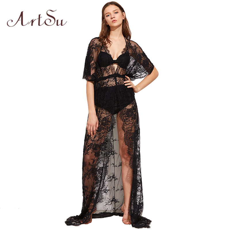 ArtSu 2017 Women Sexy Elegant Lace Long Dress V-Neck Short Sleeve Bodycon Evening Party Vestidos Summer Maxi Dresses ASDR20079
