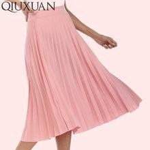 7245741464 Faldas Mujer primavera moda Otoño de las mujeres de alta cintura plisado  Color sólido elástico Falda larga señora falda yardas g.
