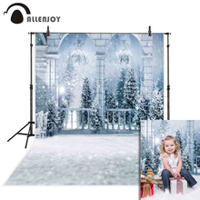 Allenjoy christmas background photography outdoor glitter winter arch snowflake holiday raimantic pine photographic backdrop