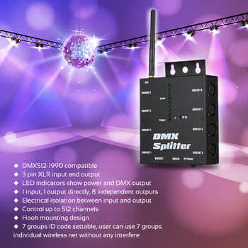 Optical Splitter 8 Channels DMX512 Wireless Distribution Amplifier for Party DJ Show Club Disco KTV Stage Light
