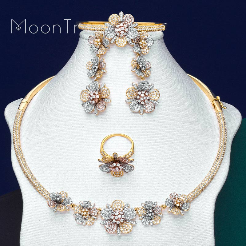 MoonTree Luxury Delicate Flowers Full Micro AAA Cubic Zirconia 3 Tone Women Wedding Bridal Necklace Bangle Earring Ring Set