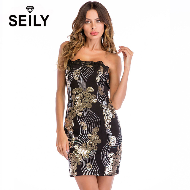 Seily Sexy Strapless Christmas Party Club Sparkly Mini Dress Women Luxury Shiny Black Sequin Bodycon Special Occasion Dress 2018