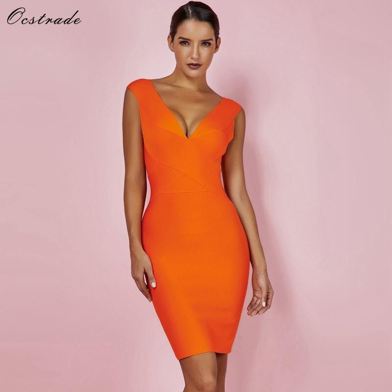 Ocstrade Sexy Kleid Club Tragen Sommer Party Kleid 2018 Neue Ankunft Orange Tiefem v-ausschnitt Frauen Verband Kleid Bodycon Ärmellose XL