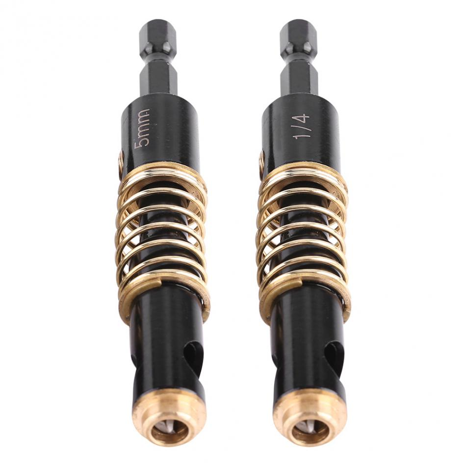 2pcHexagonal Handle HSS Brass Self Centering Hinge Twist Drill Bits 1/4