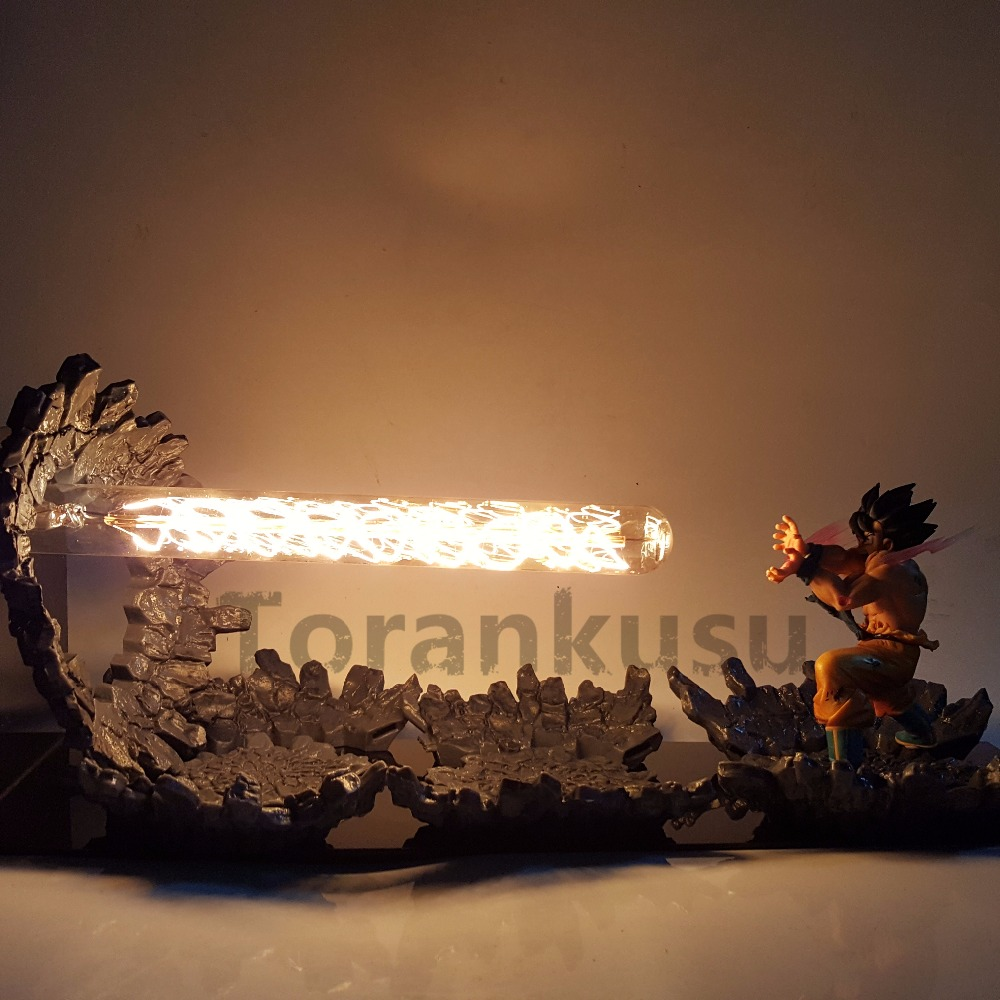 Dragon Ball Z Son Goku Figurines Kamehameha Attaque Anime Dragon Ball Z Goku Super Saiyan DBZ Led Éclairage Modèle jouet