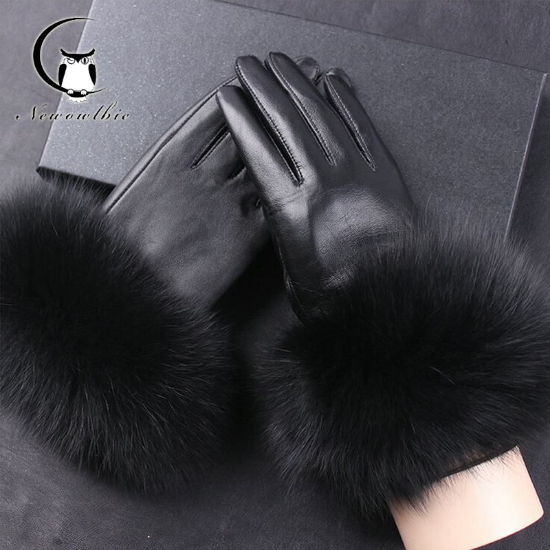 Women Leather Gloves Real Fox Fur Gloves Genuine Leather For Adult Black Gloves Women Winter Leather