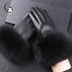 Gloves Leather Mittens Winter Women Genuine-Leather Real Adult for Black Fox-Fur