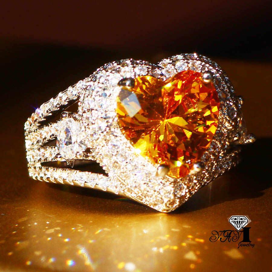 Yayiジュエリーファッションプリンセスカット3.5ctイエロージルコンシルバーカラー婚約指輪ウェディングリングパーティーリング