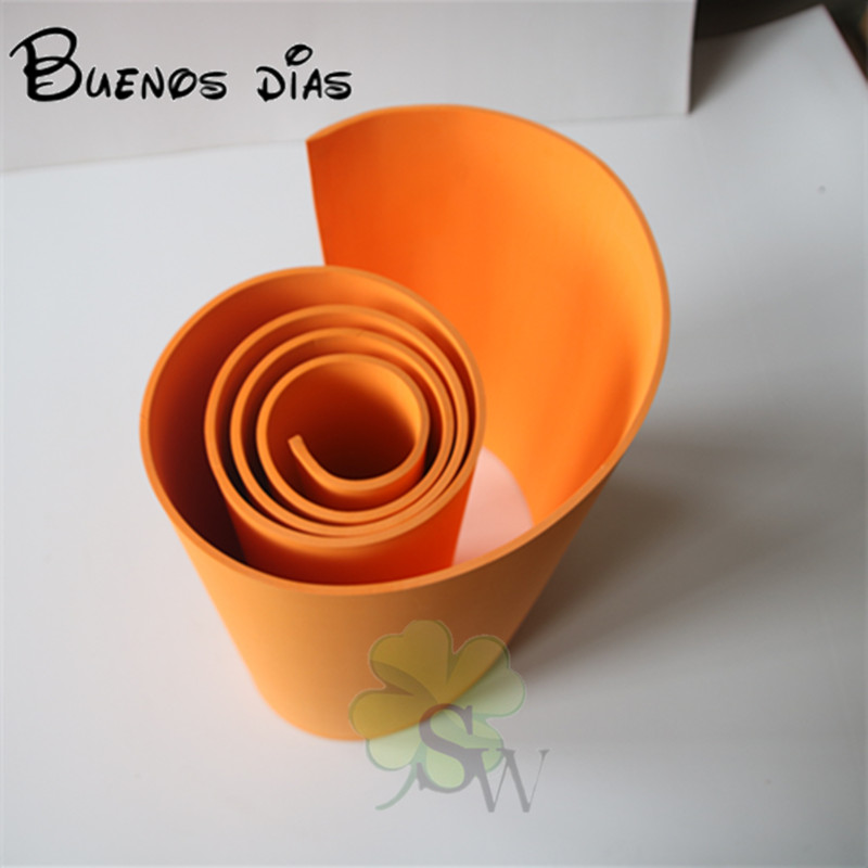 Buenos Dias 5mm Thickness Orange Color  No Hole Goma Eva Foam Sheet,cosplay Children School Handmade Material Size 50cm*200cm