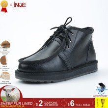 INOE real sheepskin wool fur lined men casual winter snow boots for man lace up winter shoes Beckham same style black waterproof