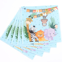 20Pcs\Lot Jungle Animal Theme Napkins Kids Birthday Party Decorations Baby Shower Supplies Disposable Tableware