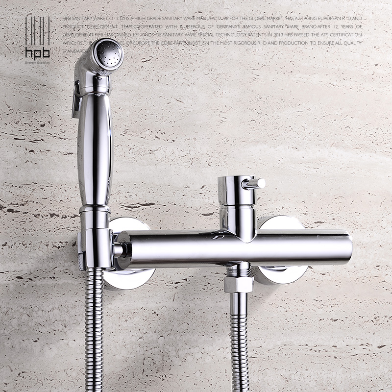 Full copper cold bidet suite toilet angle valve shot gun bidet faucet washer nozzles wall mounted promotion