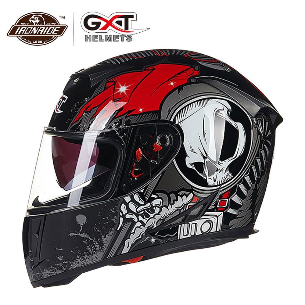 GXT Helmet Motorcycle Moto Biker Full Face Riding Helmets Double Visor Motocross Helmet Capacete Da Motocicleta
