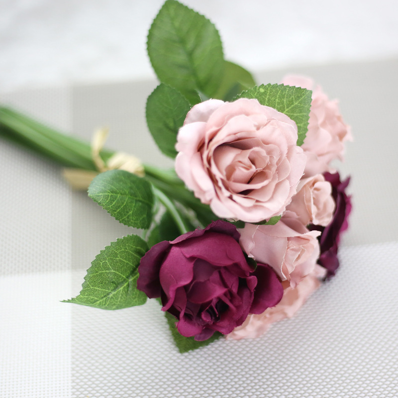 Handmade artificial roses flowers wedding brides bouquet bride bouquet garden wedding decoration party supplies Hot sale product in Artificial Dried Flowers from Home Garden