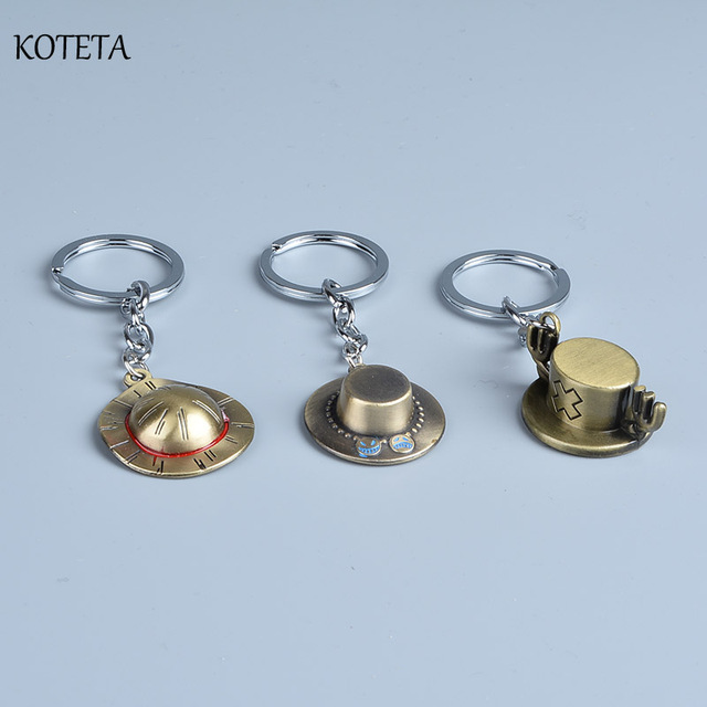 Anime One Piece Luffy Straw hat & Ace & Chopper Hat Keychain Action Figure Toys Key Ring Chains Pendants