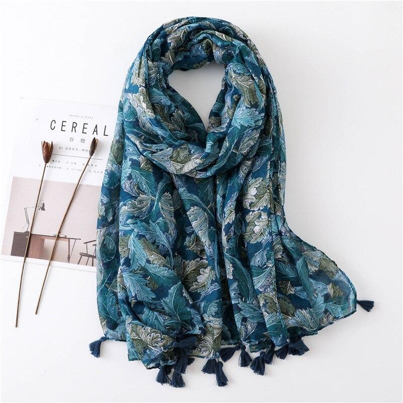 Winter   Scarf   for Women Impression Leaves Head   Scarf   Viscose Shawl Hijab Unique Color Fashion Large Warm   Wrap   Foulard NEW [3585]
