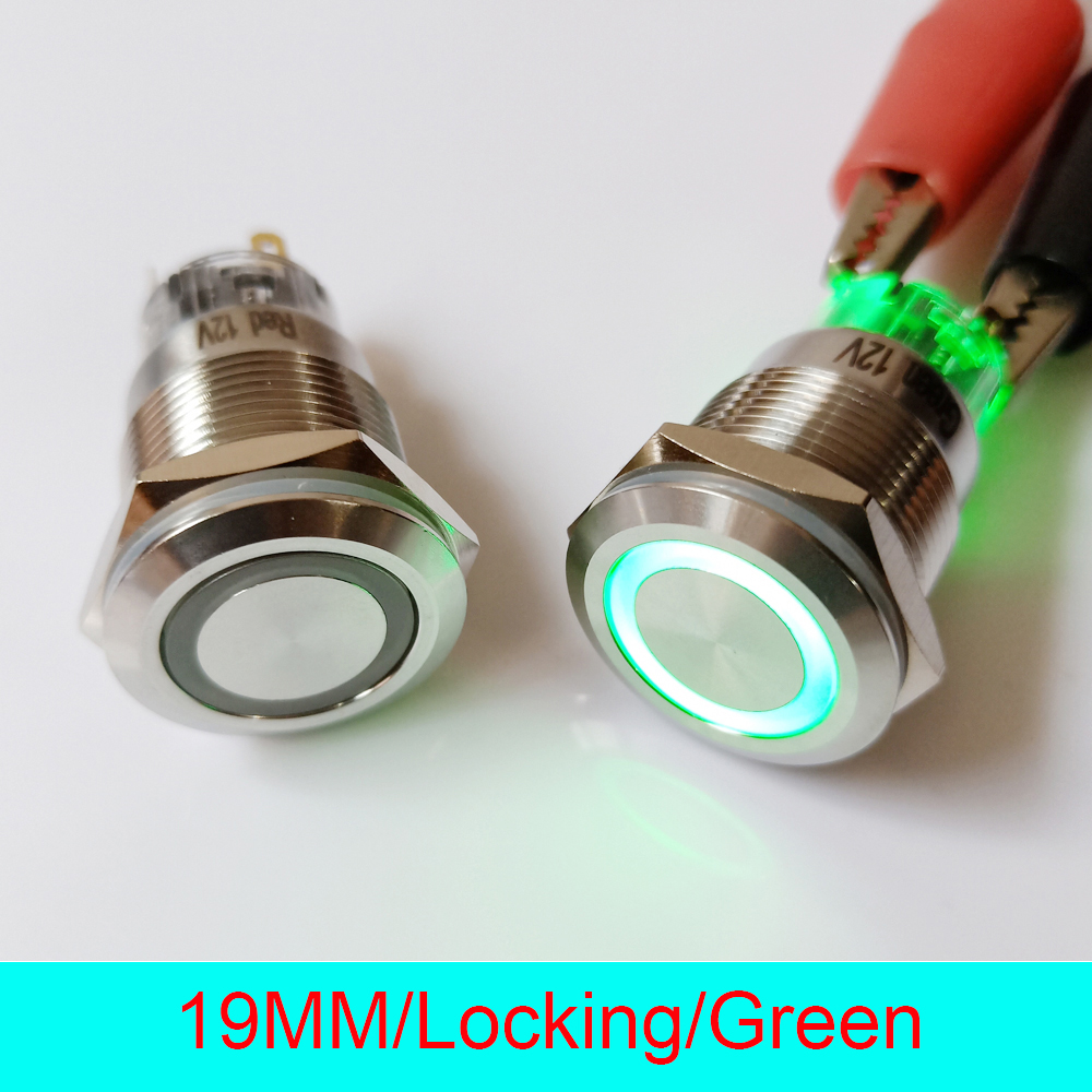 50pcs 19mm Stainless Steel IP67 Waterproof Self Locking Latching ON OFF 220V Ring LED Lighted Power
