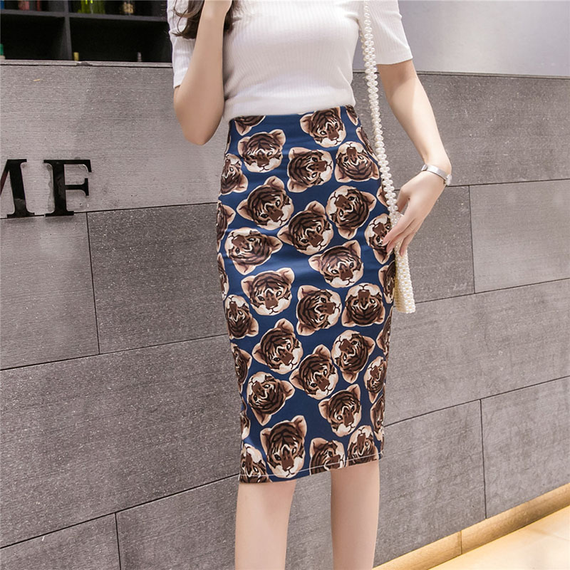 Women's Cat Tiger? Print Skirt Summer Cartoon Pencil Skirt Digital Graphic Sexy  Skirts Split Office Lady Female Falda SP611