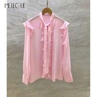 100% Silk Pink Kimonos 2018 Autumn Winter Fashion Bow Tie Collar Long Sleeve Womens Blouse and Shirts 2018 Pre Fall