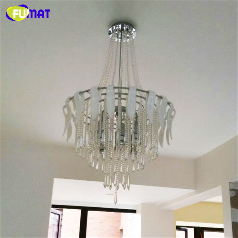 Fumat Led Ceiling Fans Crystal Light Dining Room Living: FUMAT K9 Crystal Chandelier Modern Fashion White Glass K9