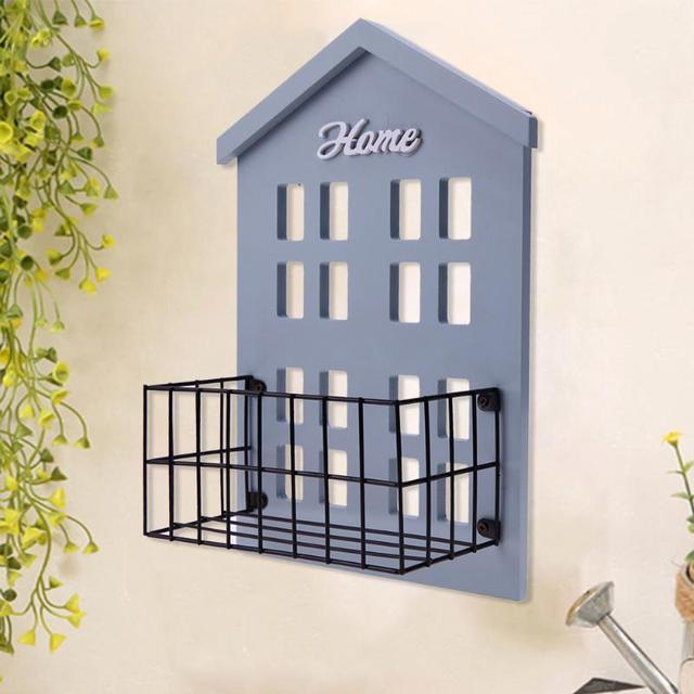 Pastoral Style Wooden Wall Shelf Sundries Storage Basket Iron Holder Gardening Flower Pot Planting Holder Wall Planter Box Decor