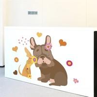Cute dog kwiat serce naklejki ścienne dla dzieci pokoje home decor cartoon zwierząt naklejki ścienne diy plakat pcv mural art dekoracje w Zestawy mebli barowych od Meble na