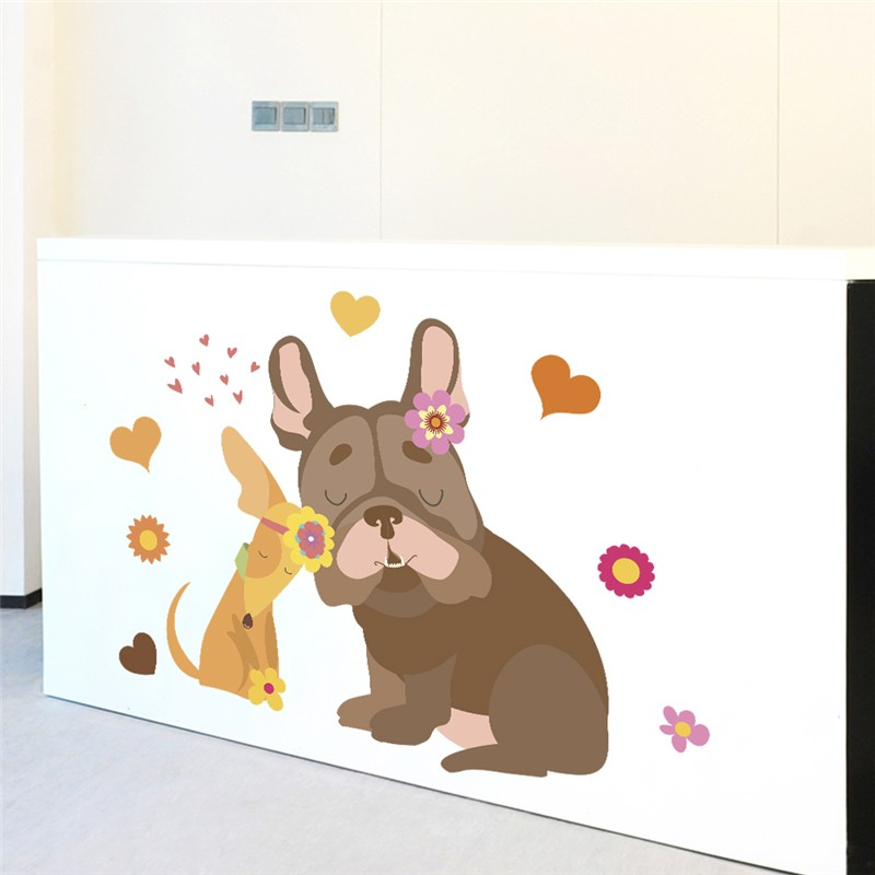 Cute Dog Flower Heart Wall Stickers For Kids Rooms Home Decor Cartoon Animals Wall Decals Diy Poster Pvc Mural Art Decorations