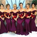 Venda quente Longo Vestido de Dama de honra Fora Do Ombro Sereia Longo Da Dama de honra Vestido de Casamento África Oriente médio Arábia Saudita Vestido Das Mulheres