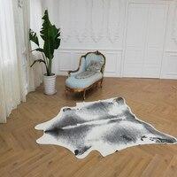 Корова печатных коврик из искусственного коровьей кожи Ковер серый белый коврик из искусственной кожи коврик неправильной формы 244x190 см ди