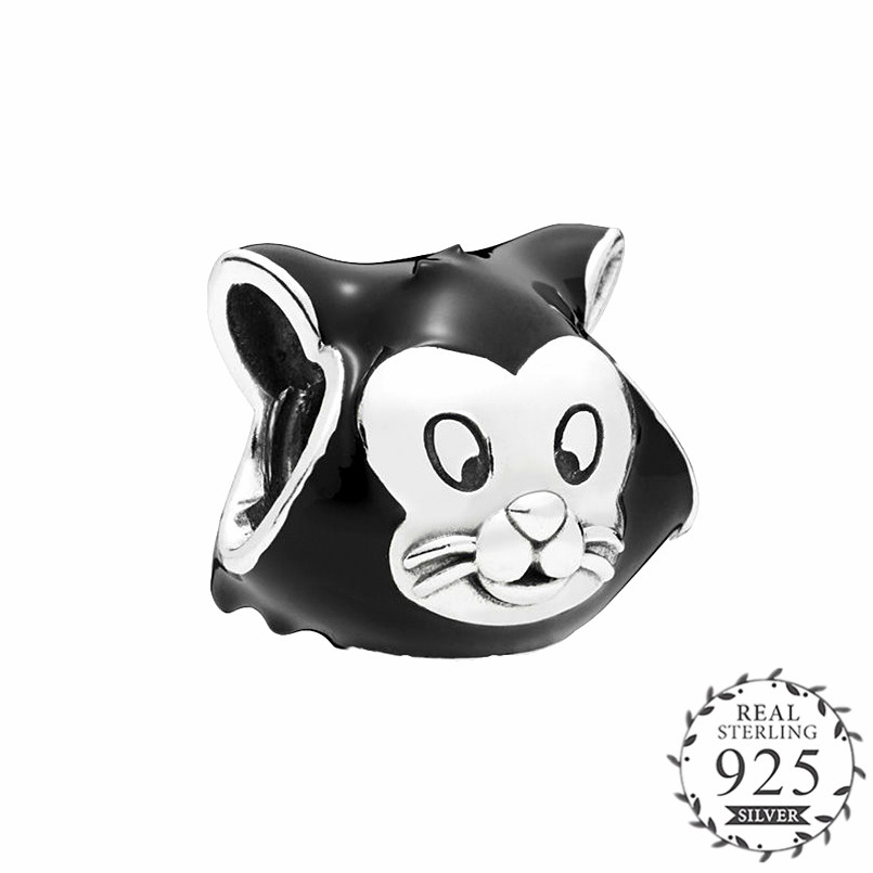 цена на 2018 Autumn Figaro Cat Portrait Charm with Black Enamel fits pandora Bracelets Charm Silver 925 Original DIY Jewelry Making.