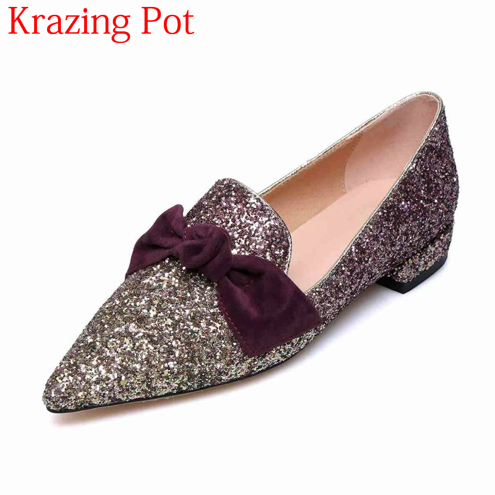 2018 Sequined Cloth Low Heels Pointed Toe Brand Women Pumps Shallow Bling Mixed Colors Silp on Elegant Party Driving Shoes L28