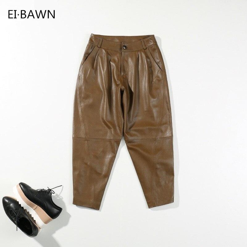 De Pantalones Negro Amarillo E Bawn Invierno Ei Streetwear Mujer brown Oveja red Piel Cuero green Rojo Black Genuino Otoño 4Bq5E5w