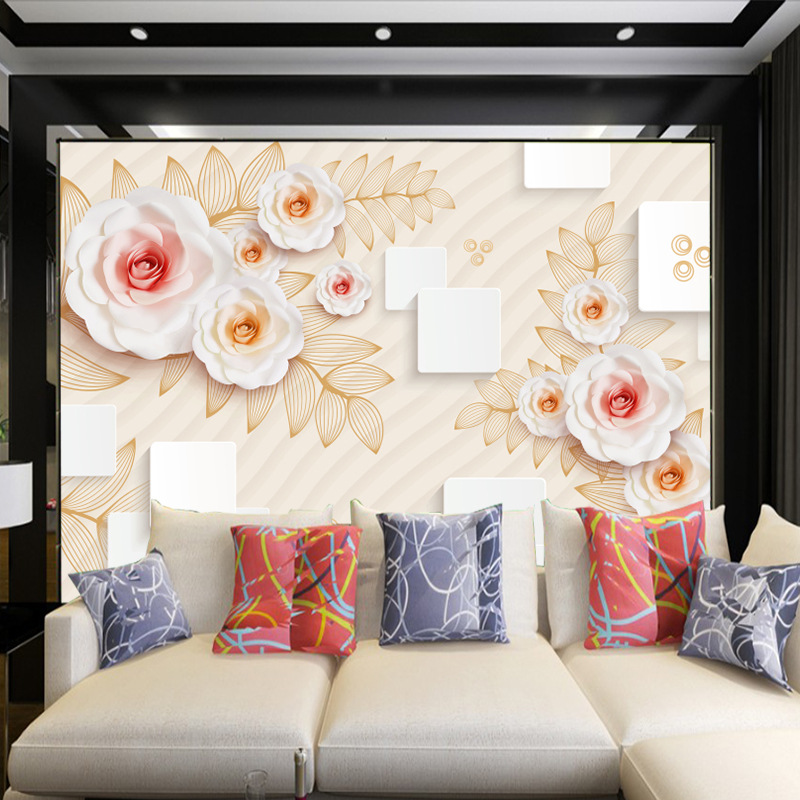 5d mural TV background wall paper 3d stereo 8d flowers wallpaper simple modern square video wall covering decoration living room in Wallpapers from Home Improvement