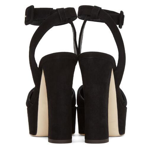 Mujer Plataforma Alto Peep Abierta Punta Del De Toe Verano Sandalias Para Zapatos Size34 43 Vestir Tacón Señoras Talón Ante Negro 4q5xWz