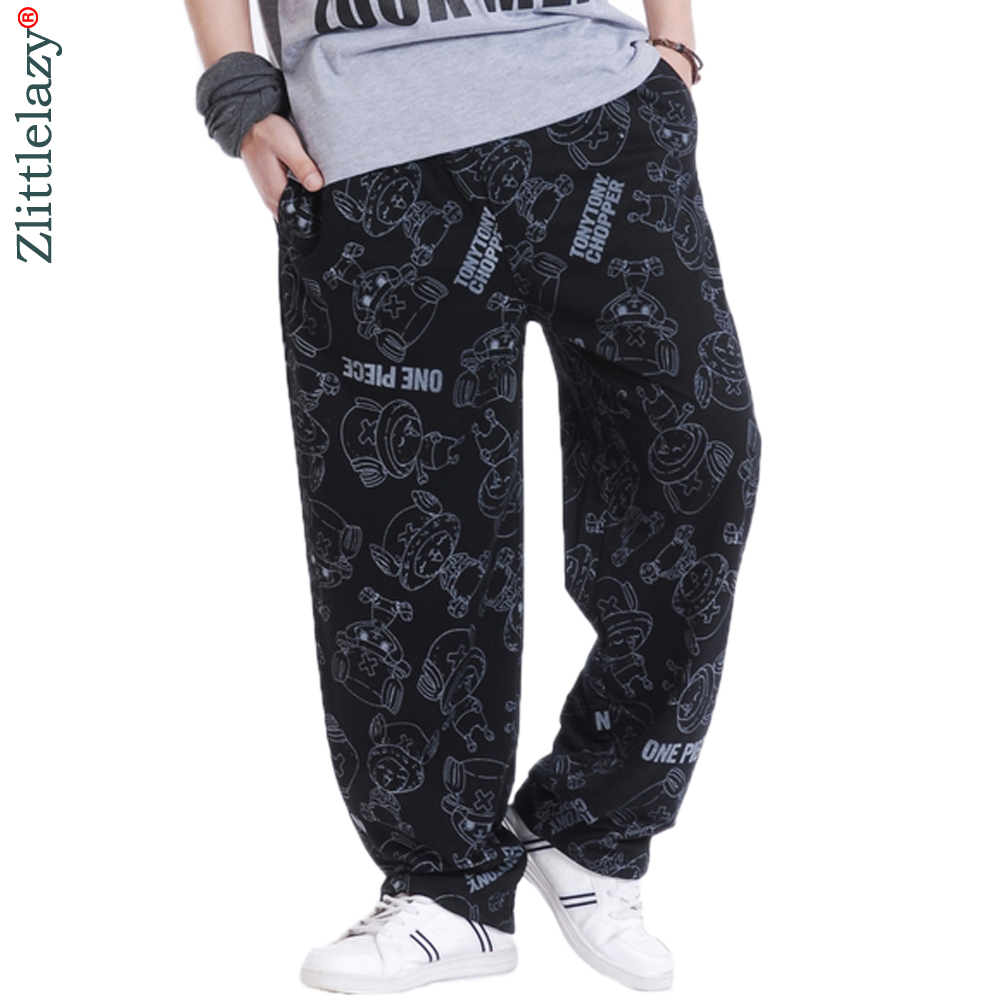 2019 Fashion Mens Joggers Letter Cartoon Printed Male Hip Hop Jogger Pants Open Air Sweatpants Men Trousers Pantalon Homme A09