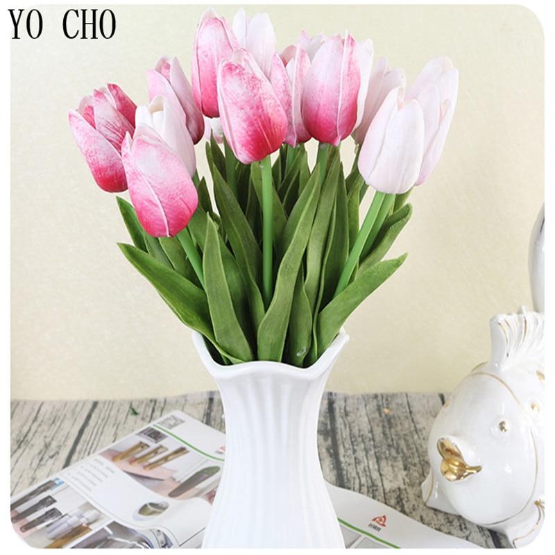 YO CHO 7PCS / LOT Tulipani Umetno cvetje PU Flores Artificiales Para - Prazniki in zabave