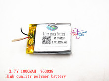 3.7 V 763038 lithium-ion polymer battery 1000 mah vehicle traveling data recorder LED speakers toys