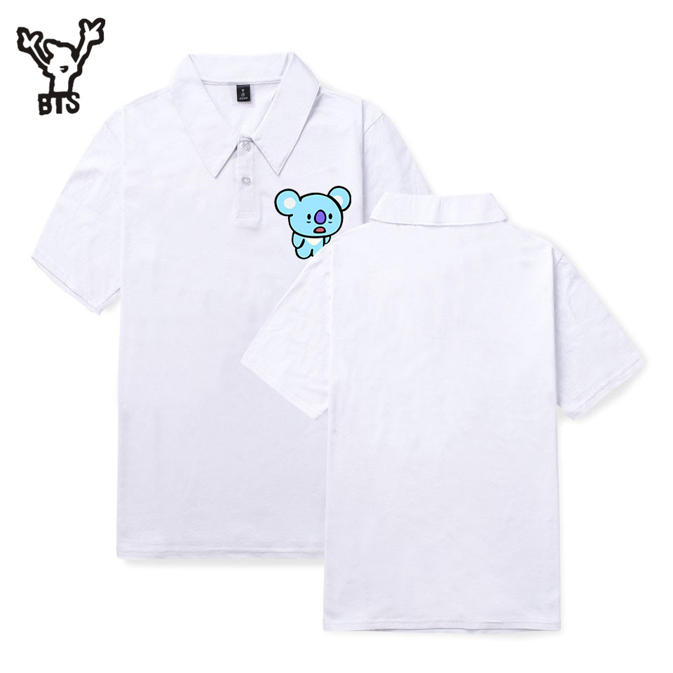 2018 BTS Summer Cartoon Print Men Lovely Polo Shirt Populer Cool Cartoon Funny Casual Commerce Comfortable Plus Size A3548-A4807