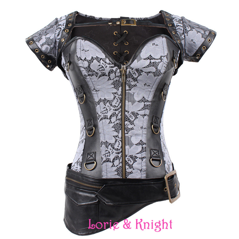 Latex Sexy Steel Boned silver Vintage Steampunk Corset Corselet Top Women Gothic Overbust Bustiers & Corsets For Waist