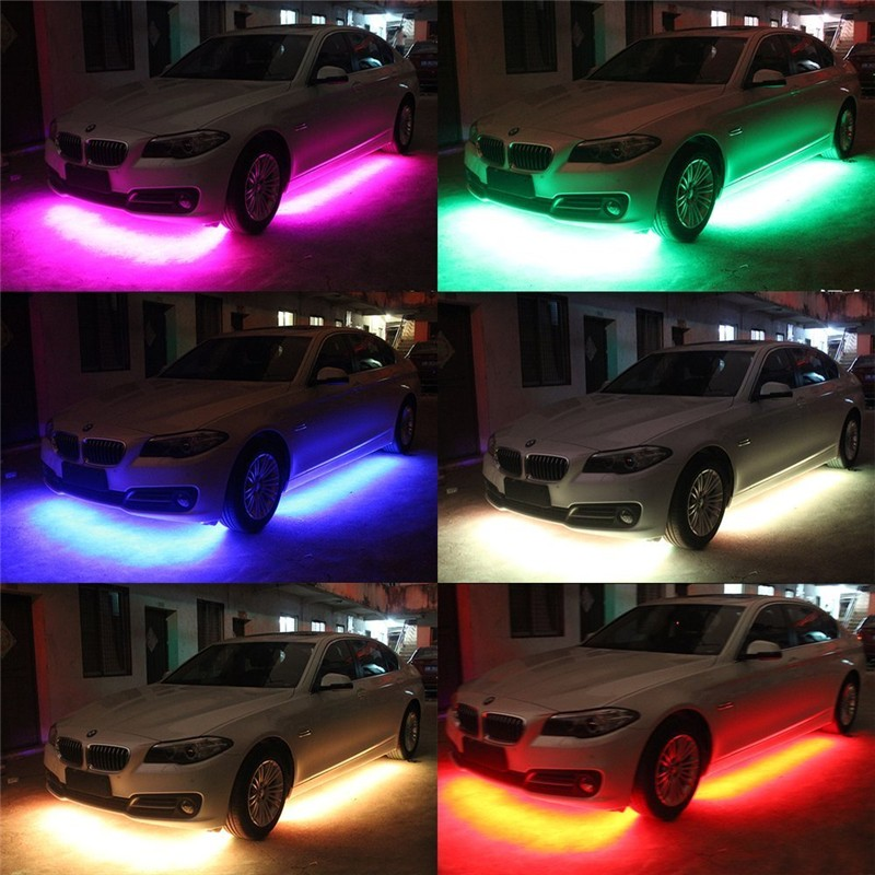 4pcs High Intensity LED Car Underglow Underbody System Led knight rider light RGB Colors Running Strip Light 90cm+120cm5