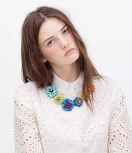 2015 New Arrival Colorful Flower Necklace ZA New Clothing Accessories Red Chunky Chain Statement Necklace Fine Jewelry
