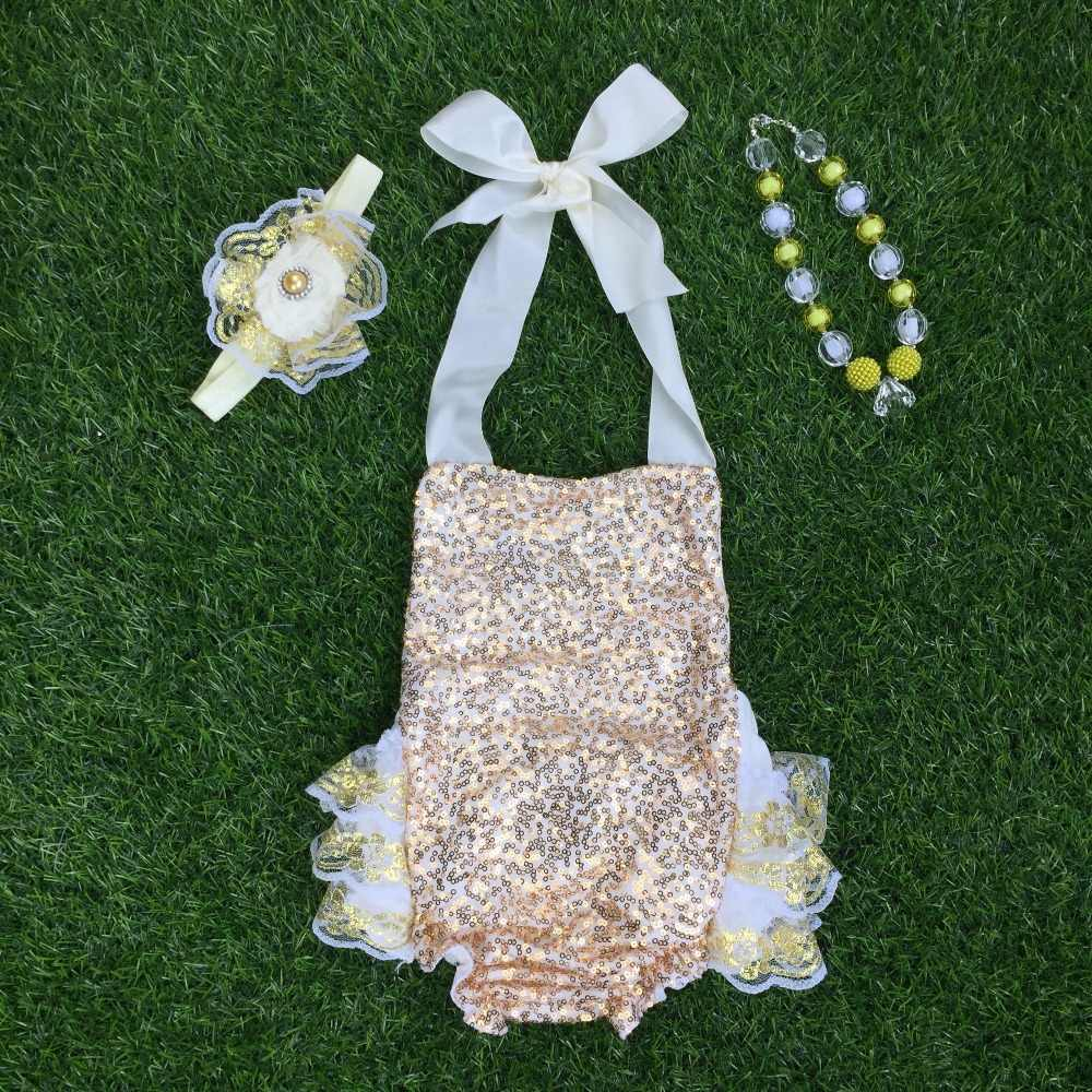 a3132f643789 baby girls Boutique Outfits Gold Sequins Lace Ruffle Bubble Romper infant  clothing baby kids headband and