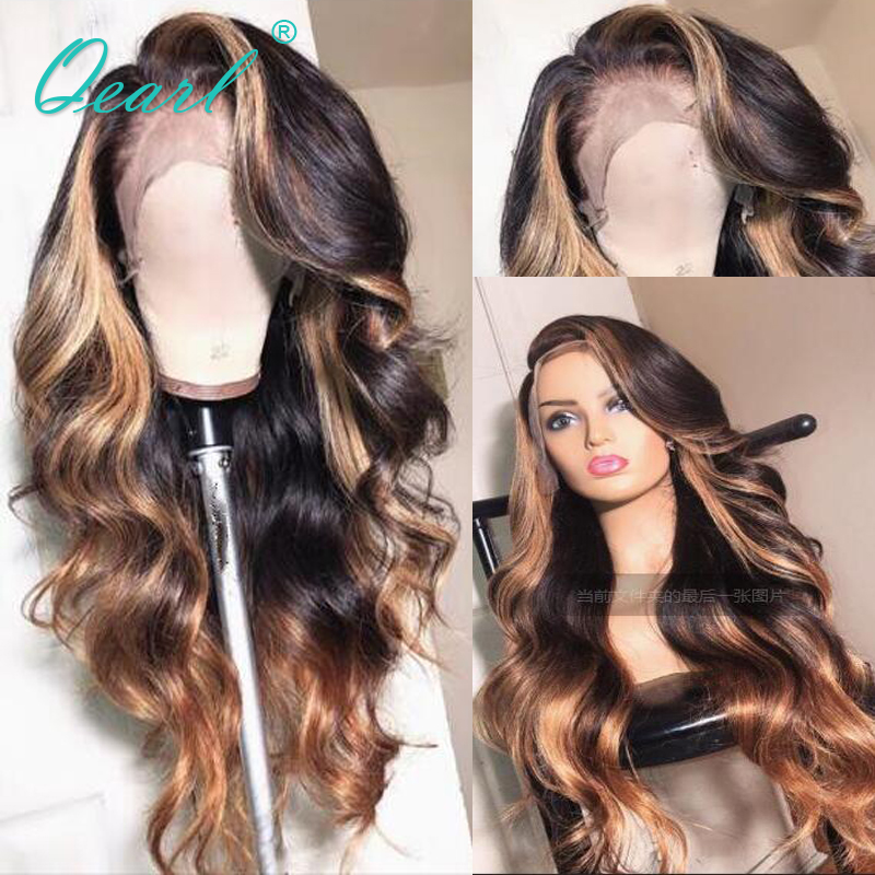 Long Deep Side part Lace Front Human Hair Wigs Body Wave Ombre Highlights Brazilian Remy Hair Pre Plucked Hairline 13x6 Qearl