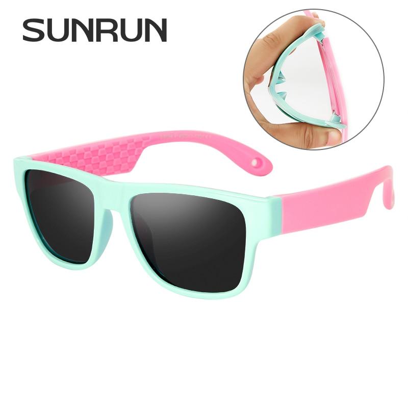 b81ab0322 SUNRUN Moda Retângulo Lente Polarizada Óculos De Sol Da Marca Designer  Miúdos S8194 UV400 TR90 Óculos