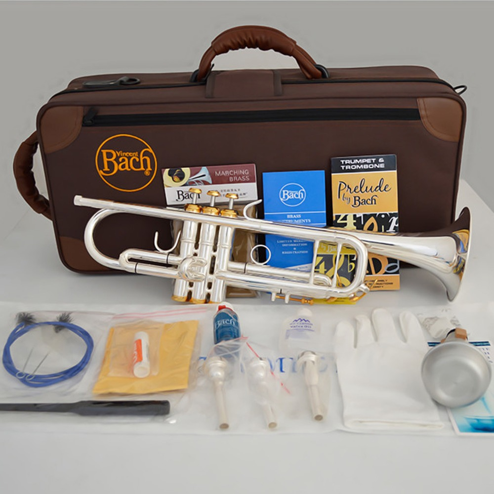 Bach Bb Trumpet Lt190s-85 Silver Plated Gold Keys Music Instruments Profesional Trumpets Included Case Mouthpiece Accessories Skilful Manufacture Back To Search Resultssports & Entertainment Trumpet