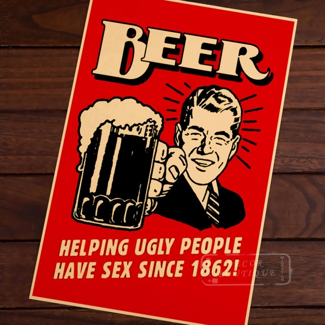 Hot Sale Beer Helping Ugly People Signs Vintage Poster Classic - Decorative maps for sale