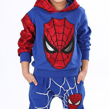 Children Favorite Cartoon Spider Man Hooded Sweater Pants Cool Suit Personalized Clothing Free Shipping